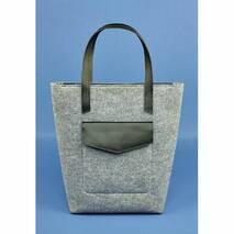 Фетровая женская сумка Шоппер D.D. с кожаными черными вставками