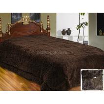 Меховый плед-травичка євро розміру коричневий