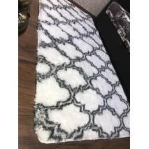 Прикроватный коврик травка с высоким ворсом 180х80 белый с узором