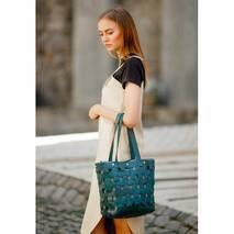 Кожаная плетеная женская сумка Пазл L зеленая Krast