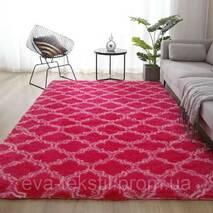Прикроватный коврик травка с высоким ворсом 180х80  розовый с узором
