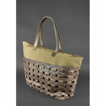 Шкіряна плетена жіноча сумка Пазл Xl темно-коричнева Crazy Horse