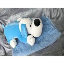 Игрушка плед подушка 3 в 1 пёсик голубая