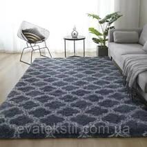 Прикроватный коврик травка с высоким ворсом 180х80 серый с узором