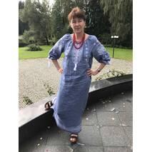 Платье на джинс-льне с вышивкой ручной работы