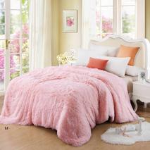 Меховый плед-травичка євро розміру рожевий