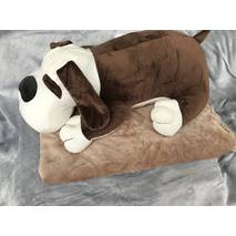 Игрушка плед подушка 3 в 1 пёсик тёмно-коричневая