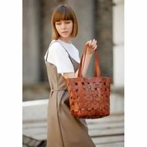 Кожаная плетеная женская сумка Пазл L светло-коричневая Krast