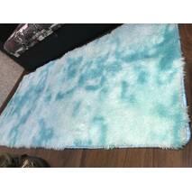 Прикроватный коврик травка с высоким ворсом 180х80 голубой