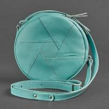 Шкіряна кругла жіноча сумка Бон-бон бірюзова