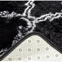 Прикроватный коврик травка с высоким ворсом 180х80  чёрный с узором