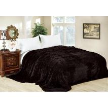 Меховый плед-травичка євро розміру чорний Koloco