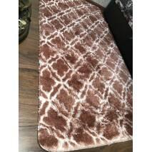 Прикроватный коврик травка с высоким ворсом 180х80 коричневый с узором