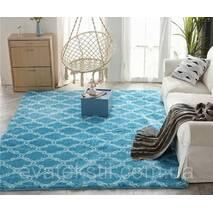Прикроватный коврик травка с высоким ворсом 180х80 голубой с узором