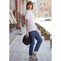 Кожаная плетеная женская сумка Пазл M  угольно-черная