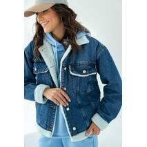 COASTMODA Стильная джинсовая куртка с искусственным мехом - джинс цвет, 34р