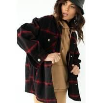 pickk-upp Женская теплая рубашка в клетку с накладными карманами - красный цвет, S