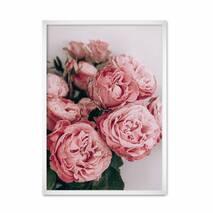 """Постер """"Пионы."""" без стекла 29.7 x 42 см в белой  рамке"""