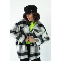 pickk-upp Женская теплая рубашка в клетку с накладными карманами - серый цвет, S