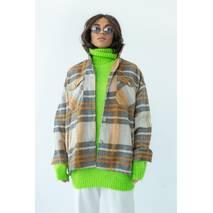 pickk-upp Женская теплая рубашка в клетку с накладными карманами - горчичный цвет, M
