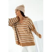 hot fashion Кофта в полоску с рубашечным воротником - коричневый цвет, M