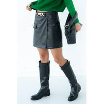 Ello Женские шорты юбка из кожзама с цепочкой - черный цвет, L