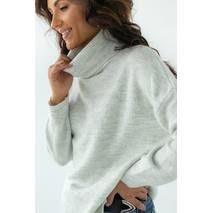 Figo Женский свитер с высоким воротником из теплой пряжи - св-серый цвет, M
