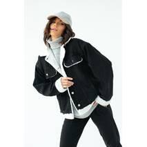 COASTMODA Стильная джинсовая куртка с искусственным мехом - черный цвет, 34р
