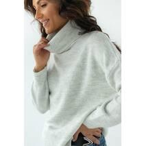 Figo Женский свитер с высоким воротником из теплой пряжи - св-серый цвет, L