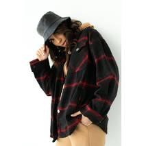 pickk-upp Женская теплая рубашка в клетку с накладными карманами - красный цвет, L