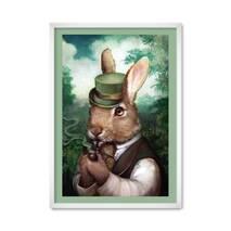 """Постер """"Кролик с трубкой"""" с антибликовым  стеклом 42 x 59.4 см в белой рамке"""