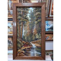 """Картина із бурштину """"Ліс"""" 30x60 см"""