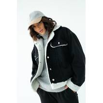 COASTMODA Стильная джинсовая куртка с искусственным мехом - черный цвет, 38р