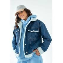 COASTMODA Стильная джинсовая куртка с искусственным мехом - джинс цвет, 36р
