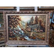 """Картина із бурштину """"Будиночок біля річки"""" 40х60 см"""