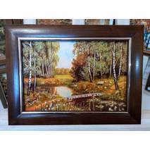 """Картина із бурштину """"Кладочка в лісі"""" 20x30 см"""