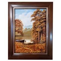 """Картина із бурштину """"Човник в лісі"""" 20x30 см"""