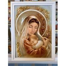 """Бурштинова ікона  """"Богородиця з немовлям"""" 30х40 см без скла (рамка кіот)"""