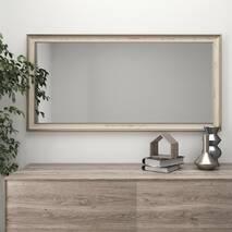 Широке настінне дзеркало в багетній рамі 120х70 Беж Black Mirror в передпокій коридор вітальню спальню
