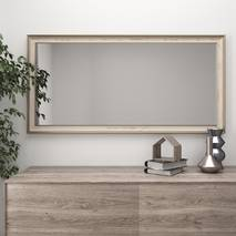 Широкое настенное зеркало в багетовой раме 120х70 Беж Black Mirror в прихожую коридор гостиную спальню