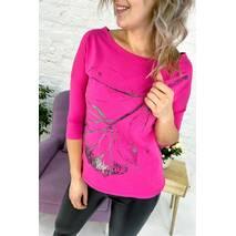 F.MODA Длинная футболка с рисунком - розовый цвет, S/M