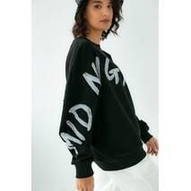 Fame Стильный свитшот свободного фасона с оригинальным принтом - черный цвет, M