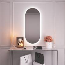 Высокое зеркало с фоновой підсвіткою на стену 120х50 Black Mirror овальное для дома, гостиницы