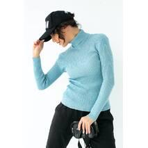LUREX Базовый женский гольф эластичной вязки - голубой цвет, M