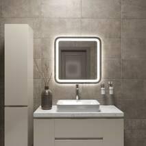 Настенное зеркало с двойной підсвіткою и закругленными углами 70 см Black Mirror для ванной комнаты, коридора