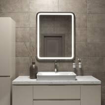 Зеркало с підсвіткою и с закругленными углами 100*80 см Black Mirror для ванной комнаты, фронтальная підсвітка