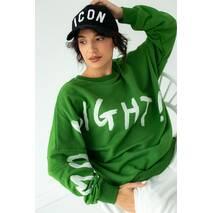 Fame Стильный свитшот свободного фасона с оригинальным принтом - зеленый цвет, L