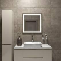 Квадратное зеркало с підсвіткою 70 на 70 Black Mirror для ванной, спальни, гардероба, гримерной, коридора