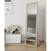 Зеркало в полный рост на пол 170х60 Белое с патиной золота Black Mirror в комнату прихожая спальню коридор