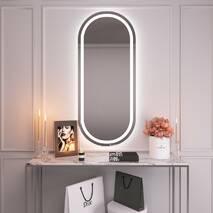 Высокое зеркало с двойной підсвіткою на стену 140х60 Black Mirror овальное для дома, гостиницы
